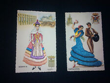 2 great embroidery & lace postcards Spain Circa 1950