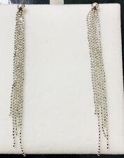 18k White Gold Sexy  bead Tassle long dangling Earring Earrings 3.50 Grams