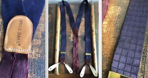 VTG COLE HAAN NAVY BLUE TEXTURED SUSPENDERS BUTTON BRACES OXBLOOD MAROON LEATHER