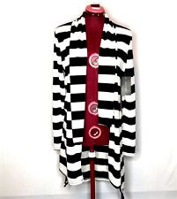 Majora Womens Sweater M Blue White Striped Open Front Side Slits Hi Lo NWT