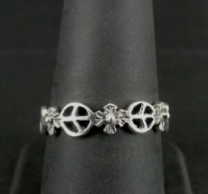 Ring Silver Peace Signs and Flowers Band Sterling 925 Size 8 1/2 Band Ring 8.5