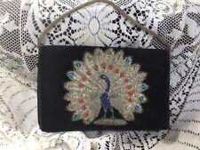 vintage velvet purse metal threadwork beaded peacock