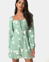 MOTEL ROCKS  Danila Dress in Mono Flower Green Small S  (mr95)