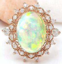 4.55 Carat Natural Opal 18K Solid Rose Gold Luxury Diamond Ring