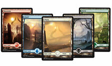 5 x FULL ART LAND SET NM mtg Amonkhet Basic Land 1 of Each Type - Com
