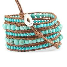 Chan Luu Graduated Turquoise Wrap Bracelet on Natural Brown Leather