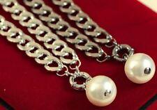 Women's collana con pendente grande Peal breve argento accessorio di moda catena UK