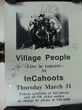 """RARE! """"Village People"""" Group Signed (X5) Vintage Poster PAAS COA"""