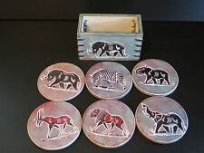 6 SOAPSTONE COASTERS HAND PAINTED WITH APRICAN ANIMALS
