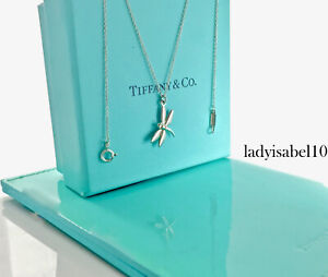 """Tiffany & Co Sterling Silver Dragonfly Charm Pendant Necklace 16"""" Gift w Box 21P"""