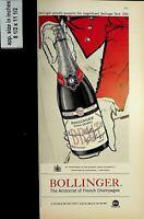 1961 Bollinger Brut Champagne French Vintage Print Ad 7995