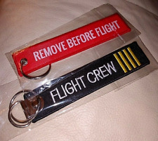 Flight Crew Key Chain/Tag Double Sided Embroidered Set of 2 New