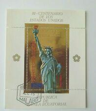 1975 STATUE OF LIBERTY EQUATORIAL GUINEA GOLD SOUVENIR SHEET CTO