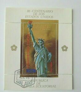 1975WHOLESALE STATUE OF LIBERTY EQUATORIAL GUINEA GOLD 5 SOUVENIR SHEETS CTO