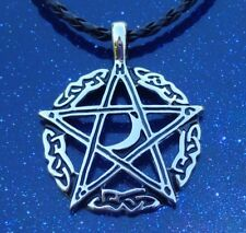 Pewter Pentagram Moon Wicca Pagan Pendant on Black Braided Necklace Cord