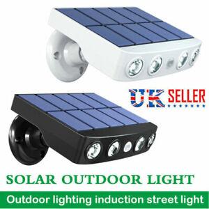 LED Solar Powered PIR Motion Sensor Wall Security Light Lamp Garden Outdoor UK