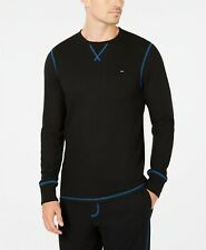 Tommy Hilfiger Men's Black Waffle Thermal Crew-Neck Long Sleeve T-Shirt