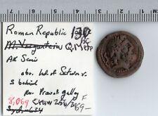 Roman Republic Semis - Sydenham 510 Crawford 256/2a Head of Saturn 130 B.C coin
