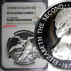 British Virgin Islands Silver 1973 FM $1.00 Dollar NGC PF67 ULTRA CAMEO KM#6a(1)
