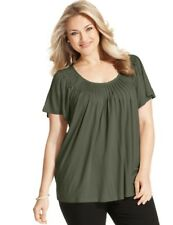 NWT Style & Co. 2X Pleated Neck.Top, Olive Green