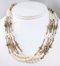 Silpada 925 Sterling Silver Pearl 5 Multi-Strand Cascading Toggle Necklace