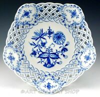 "Antique Meissen BLUE ONION 9-1/4"" RETICULATED BOWL DISH Crossed Swords Mint"