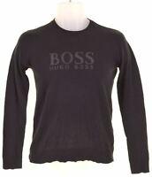 HUGO BOSS Boys Crew Neck Jumper Sweater 11-12 Years XS Black Cotton  EF14