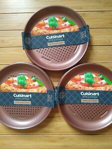 "Cuisinart 7"" Mini Pizza Pans Personal Qty 12 New Nonstick Copper Finish"