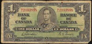 1937 $1 DOLLAR BILL B/L 2193898 BANK OF CANADA CANADIAN CURRENCY OLD PAPER MONEY