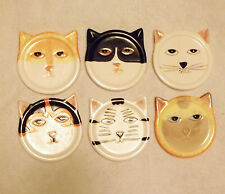 Kitty Cat Drink Coasters Set of 6-Hand Painted Ceramic Pottery Bandwagon