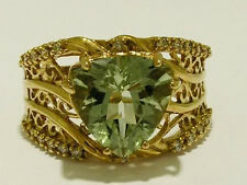 R178- WIDE 9ct SOLID Gold NATURAL Diamond & Green AMETHYST Ring Trillion size O