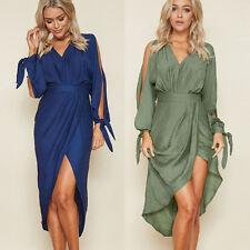 Boho Womens Summer Irregular V-Neck Party Long Maxi Dress Beach Casual Sundress
