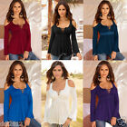 Fashion Women Long Sleeve Off Shoulder T-shirt Lace Up Neck Loose Blouse Tops
