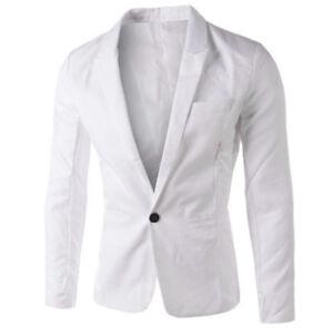 Mens Slim One Button Blazer Suit Tuxedo Coat Wedding Formal Business Jacket US