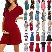 Womens Maternity Dress V-Neck Pregnancy Clothes Nursing Sundress Summer Dress