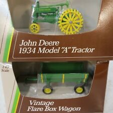 "John Deere 1934 Model ""A"" Tractor and Vintage Flare Box Wagon - 1/43rd Scale NIB"