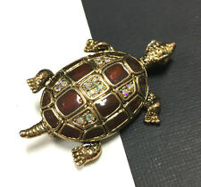 Large Vintage Bronze Enamel & AB Rhinestone TURTLE Brooch Pin Gold Tone HH114i