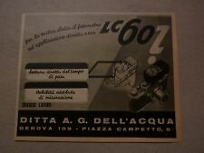 ADVERTISING PUBBLICITA' MACCHINA FOTOGRAFICA LEICA LC 60 - DELL'ACQUA -- 1940