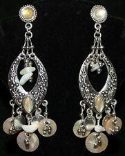 BEADED SHELL Gypsy Chandelier Belly Dance Dancing Tribal Fairy FLAMENCO Earrings