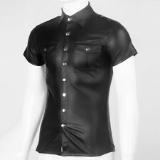 Mens Faux Leather Police Uniform Shirt Short Sleeve PU Top Blouse Wet-Look Slim