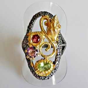 Fine Art Peridot Amethyst Granat Damen Ring 925 Black Rhodium Gold 18,4 mm 58
