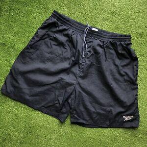 Vintage Reebok Nylon Running Gym Shorts Navy Blue White Embroidered Logo 90s XXL