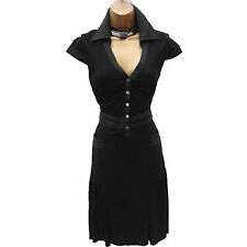 Size 10 UK KAREN MILLEN BLACK JERSEY SHIRT STYLE EVENING FLARE DRESS Office Work