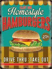 Hamburgers Drive Thru, 50's Dinner Kitchen Cafe Food Retro, Small Metal/Tin Sign