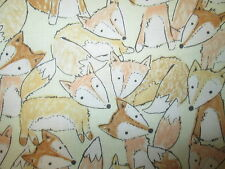 FOX TAN FOXY FOXES NATURAL COTTON FABRIC BTHY