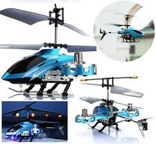 New 4Ch IR Mini Remote Control RC Metal Gyro Helicopter with LED Light RTF Blue