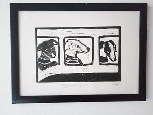 Dogs Lino Print - Greyhound Bus - Original signed artwork. Free UK shipping