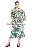 Feather Mandala Cotton Long Kimono Dress Night dress Sleepwear Bath Robe Indian