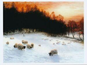 Art Print Scottish FARQUHARSON Shepherd WINTER DAY SHEEP Sunset Glow Landscape