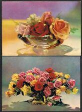 Postcard (x2) Roses. Kruger series. Unused.